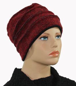 Damenmütze Walkmütze Filzmütze melange rot Liane