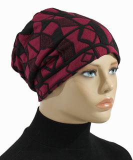 Damen Beanie Mütze Chemo Mütze pink schwarz Ella