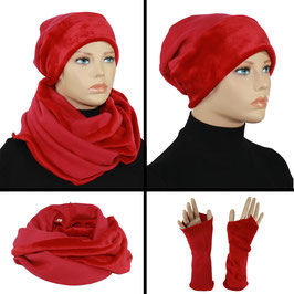 Mütze Schal Stulpen Set rot Sofie