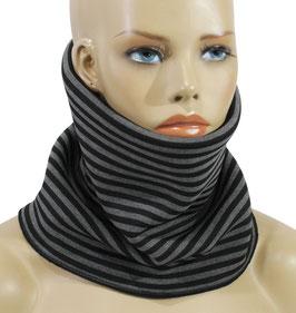 Rundschal Kurzschal Softshell schwarz grau gestreift Lenni