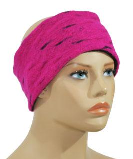 Stirnband Wolle pink schwarz Witha