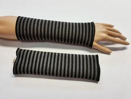 Armstulpen Streifen grau-schwarz