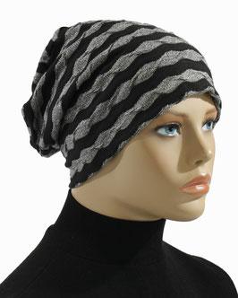 Chemo Mütze Beanie Mütze Jersey schwarz grau Luna