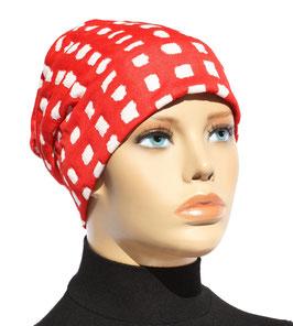 Beanie Mütze Chemo Cap rot weiß Birte