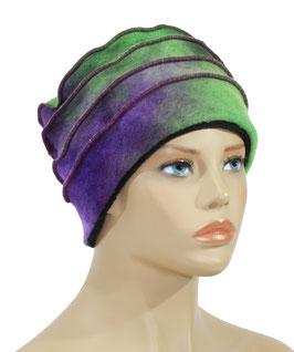 Walkmütze batik grün lila Berit