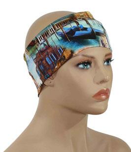 Damen Stirnband Haarband blauton Venedig Motiv