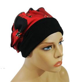 Ballonmütze Baskenmütze Damenmütze schwarz rot Marini