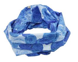 Rundschal Baumwolle blau Rose