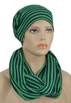 Beanie Mütze Loop Schal Set blau grün Nane