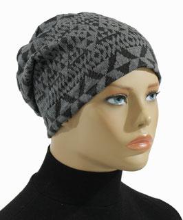 Beanie Mütze Jersey Mütze Chemo Cap grau-schwarz Melli
