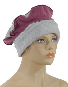 Damen Fleece Mütze Ballonmütze grau altrosa Jolie