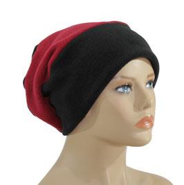 Beanie Fleece Mütze schwarz rot Romi