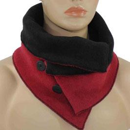 Damen Fleece Schal rot schwarz Wendeschal Romi