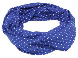 Loop Schal royalblau mit weißen Tupfen