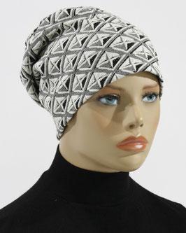 Damen Beanie Mütze Jerseymütze weiß schwarz Maxi