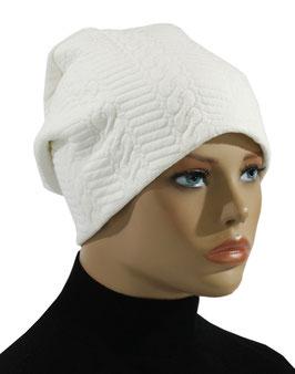 Damen Beanie Mütze Jerseymütze weiß Erna