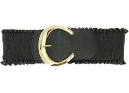 Stretch Kunstledergürtel schwarz mit Schnalle