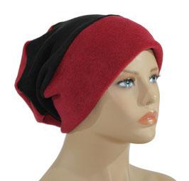 Beanie Fleece Mütze rot schwarz Romi