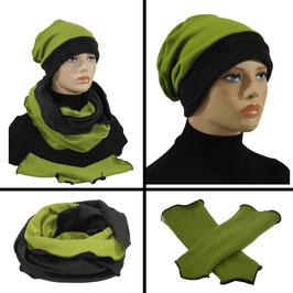 Mütze Schal Stulpen Set grün-schwarz Sabrina