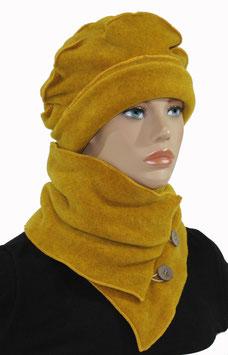 Fleece Mütze Schal Set senfgelb Palina