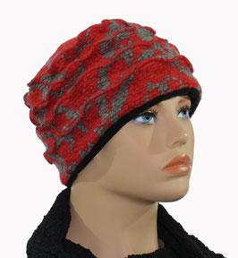 Damenmütze Walkmütze Wollmütze rot grau Gerdi
