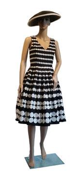 Laura Ashley Tupfenkleid schwarz-weiss