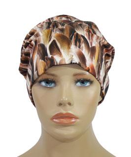 Damenmütze Beaniemütze brauntöne Federndruck