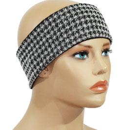 Stirnband  Hahentritt Muster schwarz weiß Pixie