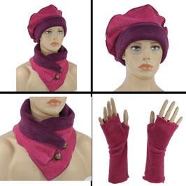 Damen Mütze Schal Stulpen 3er Set Fleece Jonna
