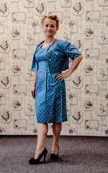 True Vintage Etui Kleid Brokat blau