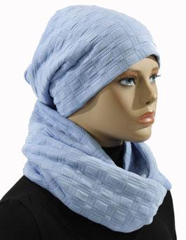 Damen Mütze Schal Set Jersey hellblau Julia