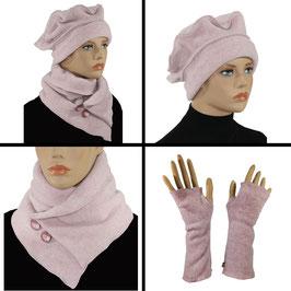 Damen Mütze Schal Stulpen Set rosa Pamina