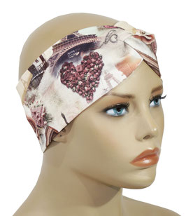 Turban Stirnband altrosa Paris Druck