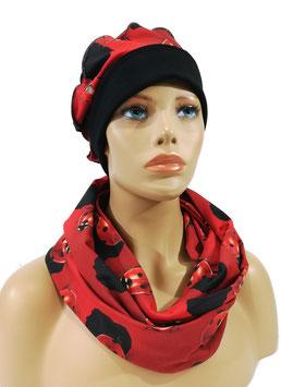 Mütze Schal Set schwarz rot Marini