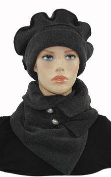 Mütze Schal Set Fleece grau Pauline