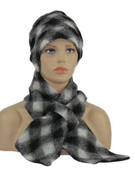 Mütze Schal Set Wolle karo schwarz weiß Ida
