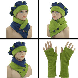 Damen Mütze Schal Stulpen Fleece grün/blau Valerie