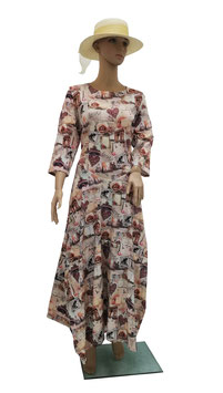 Maxikleid Jerseykleid Baumwolle Vintage Digitaldruck altrosa