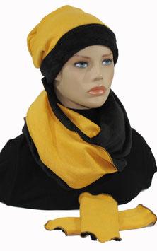 3er Set Mütze Schal Stulpen Set gelb-schwarz Samira