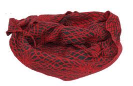 Dreieckstuch Wolle Jacquard Strick rot-schwarz Oda