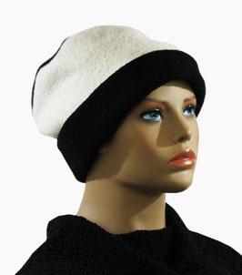 Damenmütze Walk Loden schwarz wollweiß Wera