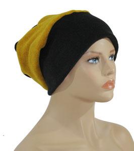 Beanie Fleece Mütze schwarz senfgelb Palina