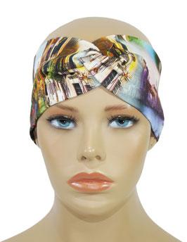 Damen Turban Stirnband Haarband blauton Venedig Motiv