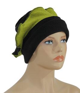 Ballonmütze Mütze Fleece schwarz - gelbgrün Pam