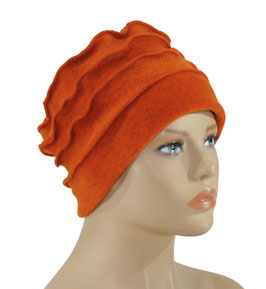 Fleece Mütze Damenmütze Bändchen orange Poppy