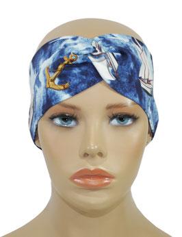 Turban Stirnband Damen Haarband Segelboot marine