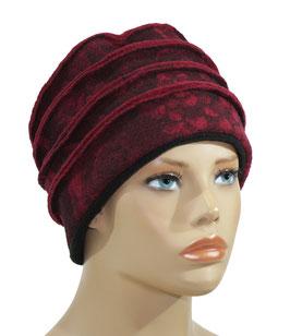 Damenmütze Walkmütze rot Rose