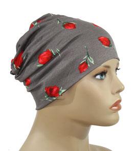 leichte Chemo Mütze taupe mit Rosenmuster Alisa