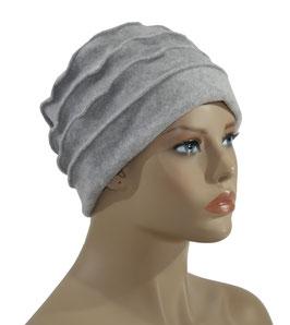 Fleece Mütze Damenmütze Bändchen hellgrau Philine