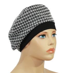 Damen Basken Mütze Hahnentritt Muster Olga